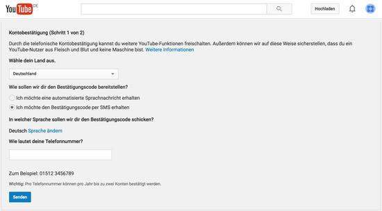 Youtube-Konto mit SMS-Code bestätigen