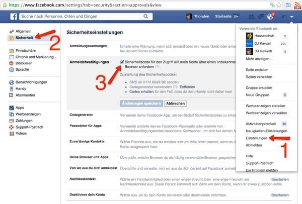 Zwei-Faktor-Authentifizierung bei Facebook aktivieren