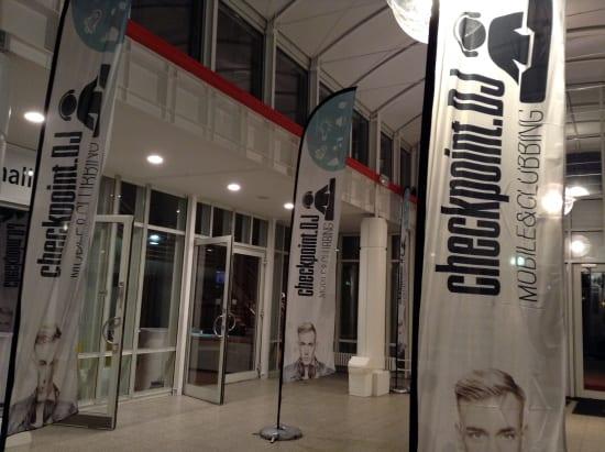 Eingangsfoyer im HCC zur Eilenriedhalle, Checkpoint.DJ