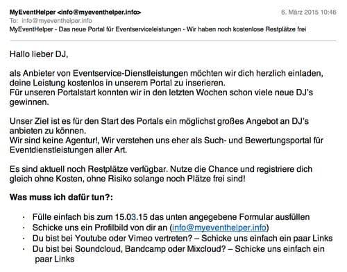 DJ-Agentur schreibt jeden DJ per E-Mail an