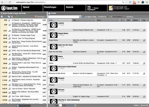 Internet-Radio Admin-Oberfläche bei Laut.fm