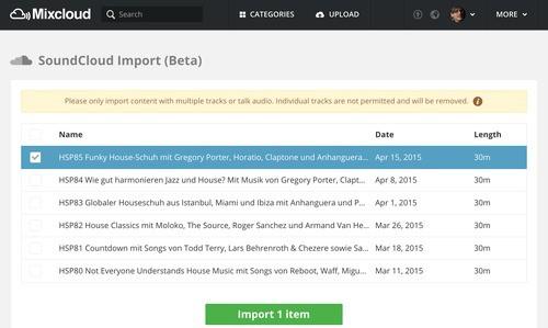 Betatest von Mixcloud, um Mixe von Soundcloud zu importieren