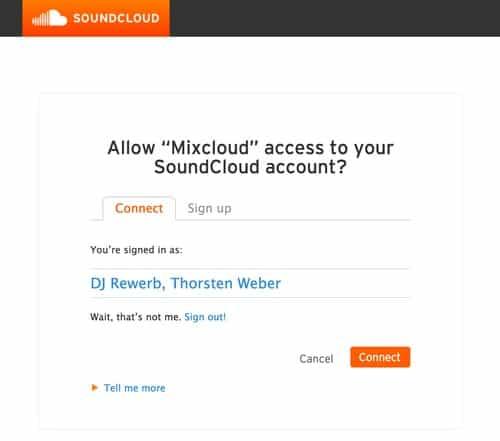 Mixcloud den Zugriff auf Soundcloud erlauben