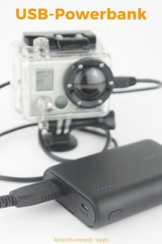 USB-Powerbank als Stromversorgung für GoPro Kamera