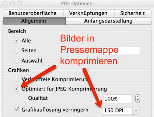 Pressemappe erstellen: Nutze PDF Export-Optionen in Open-Office, für kleinere PDF-Dateien
