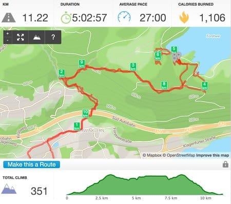 Route von Wörthersee, durch Römerschlucht zum Forstsee