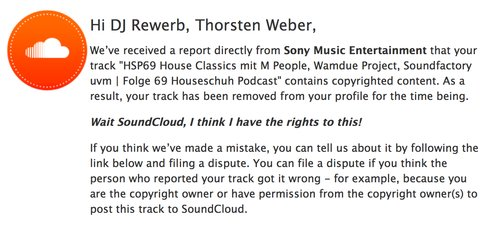 Soundcloud löscht HSP69, Copyright Dispute
