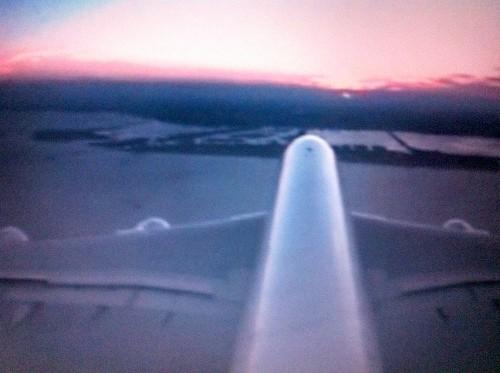 Landeanflug bei Sonnenuntergang über South Beach