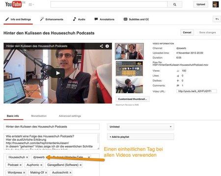 Tags bei Youtube-Videos setzen, einheitliches Stichwort